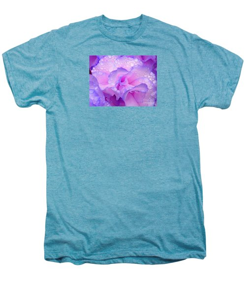 Men's Premium T-Shirt featuring the photograph Wet Rose In Pink And Violet by Nareeta Martin