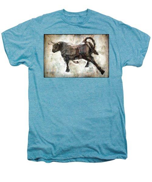 Wild Raging Bull Men's Premium T-Shirt by Daniel Hagerman