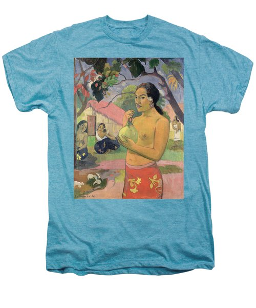 Woman With Mango Men's Premium T-Shirt by Paul Gauguin