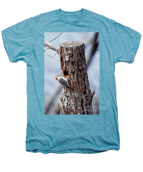 Woodpecker And Starling Fight For Nest Men's Premium T-Shirt