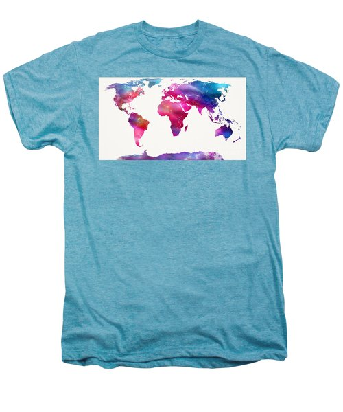 World Map Light  Men's Premium T-Shirt by Mike Maher