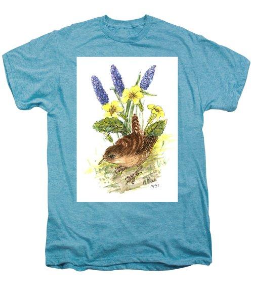 Wren In Primroses  Men's Premium T-Shirt by Nell Hill
