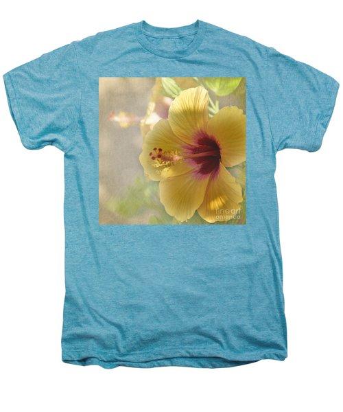 Yellow Hibiscus Men's Premium T-Shirt by Peggy Hughes