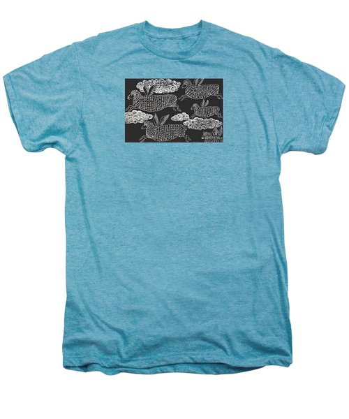 Men's Premium T-Shirt featuring the drawing And Sheep Can Fly by Nareeta Martin