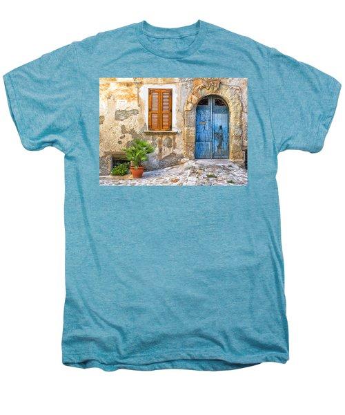 Mediterranean Door Window And Vase Men's Premium T-Shirt