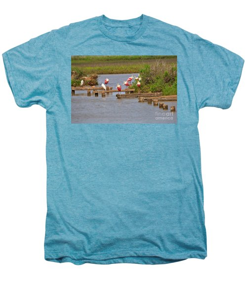 Roseate Spoonbills And Snowy Egrets Men's Premium T-Shirt by Louise Heusinkveld