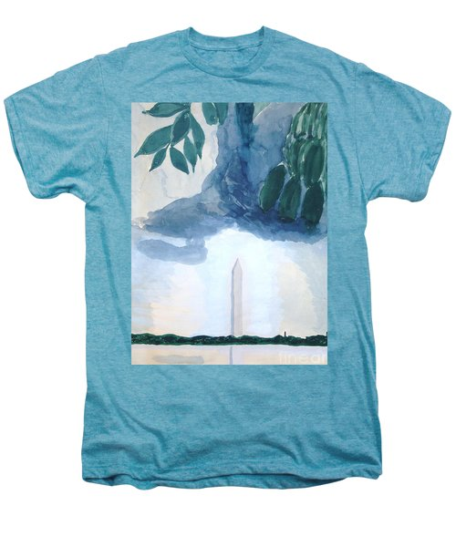 Men's Premium T-Shirt featuring the painting Washington Monument by Rod Ismay
