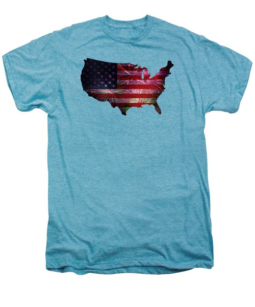 American Flag With Fireworks Display Men's Premium T-Shirt
