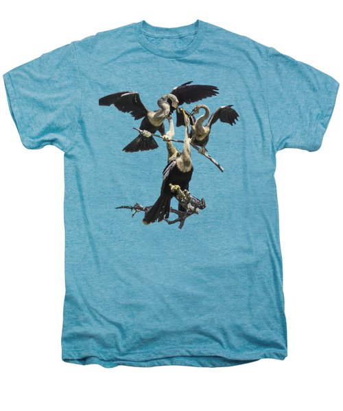 Anhinga Feeding Time Transparency Men's Premium T-Shirt by Richard Goldman