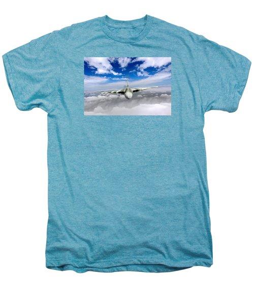 Men's Premium T-Shirt featuring the digital art Avro Vulcan Head On Above Clouds by Gary Eason