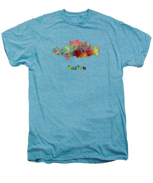 Boston Skyline In Watercolor Men's Premium T-Shirt by Pablo Romero