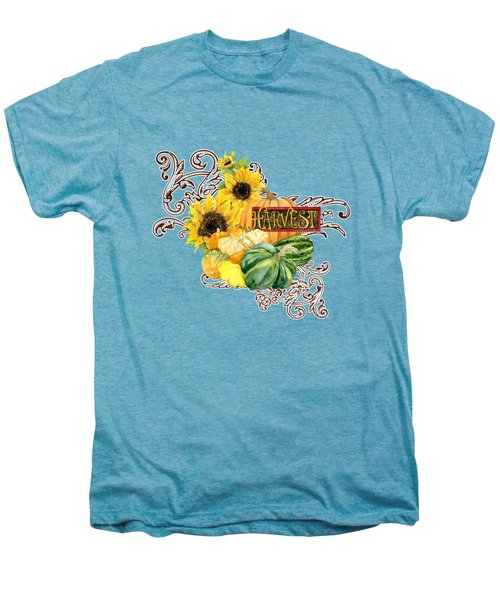 Celebrate Abundance - Harvest Fall Pumpkins Squash N Sunflowers Men's Premium T-Shirt