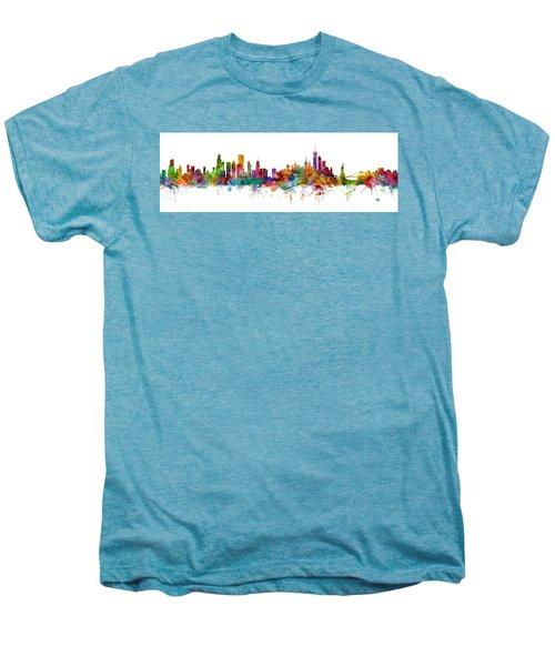 Chicago And New York City Skylines Mashup Men's Premium T-Shirt