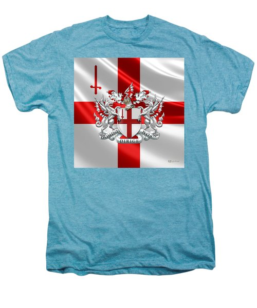 City Of London - Coat Of Arms Over Flag  Men's Premium T-Shirt