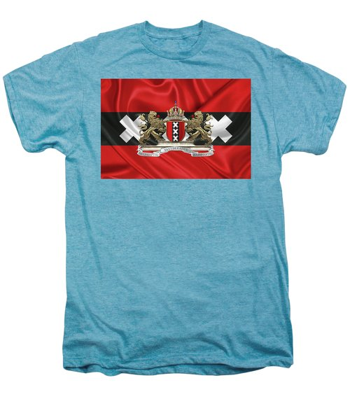 Coat Of Arms Of Amsterdam Over Flag Of Amsterdam Men's Premium T-Shirt