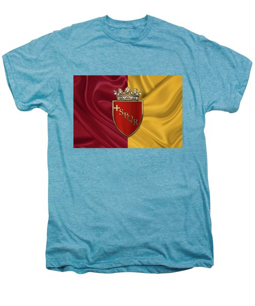 Coat Of Arms Of Rome Over Flag Of Rome Men's Premium T-Shirt by Serge Averbukh