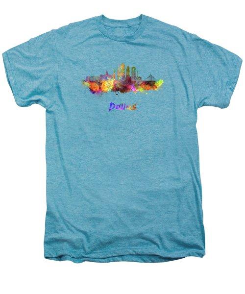 Dallas Skyline In Watercolor Men's Premium T-Shirt by Pablo Romero
