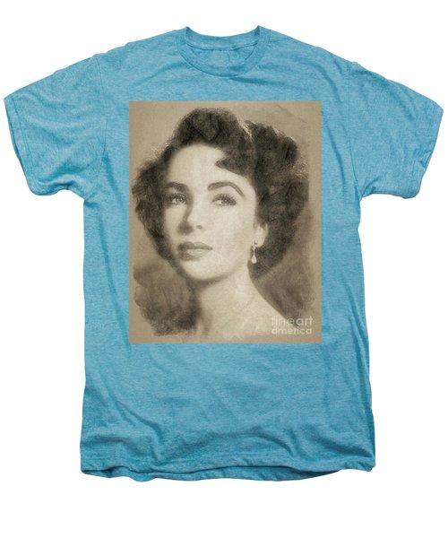 Elizabeth Taylor, Vintage Hollywood Legend By John Springfield Men's Premium T-Shirt by John Springfield