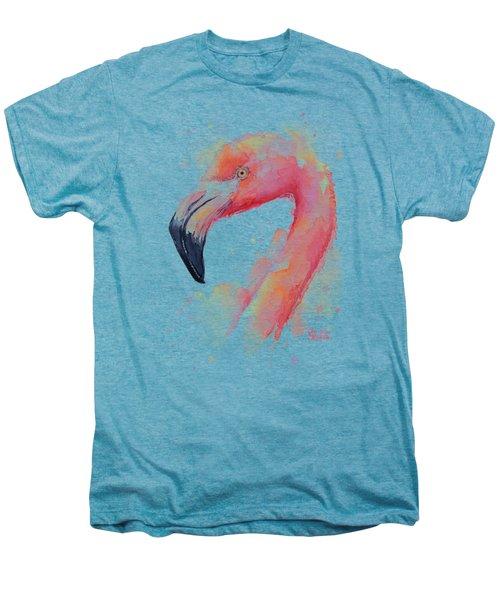 Flamingo Watercolor Men's Premium T-Shirt by Olga Shvartsur