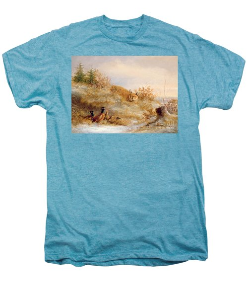 Fox And Pheasants In Winter Men's Premium T-Shirt by Anonymous