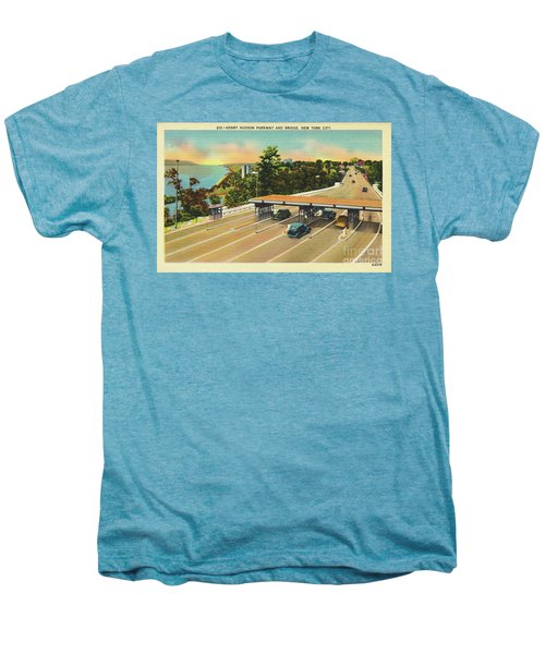 Henry Hudson Bridge Postcard  Men's Premium T-Shirt by Cole Thompson