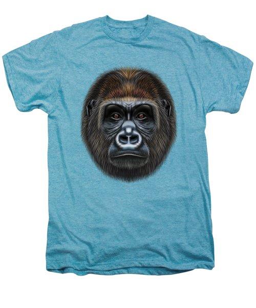 Illustrated Portrait Of Gorilla Male. Men's Premium T-Shirt by Altay Savrukov