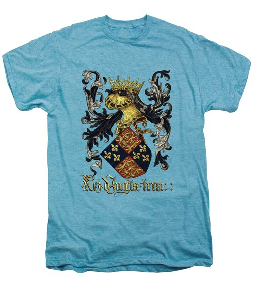 King Of England Coat Of Arms - Livro Do Armeiro-mor Men's Premium T-Shirt by Serge Averbukh