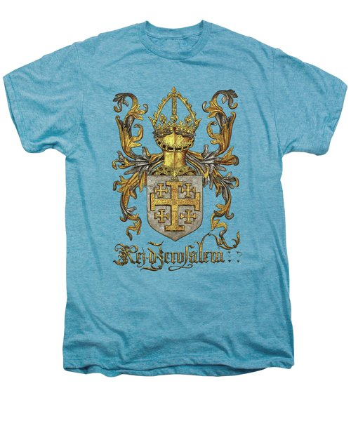 Kingdom Of Jerusalem Coat Of Arms - Livro Do Armeiro-mor Men's Premium T-Shirt by Serge Averbukh