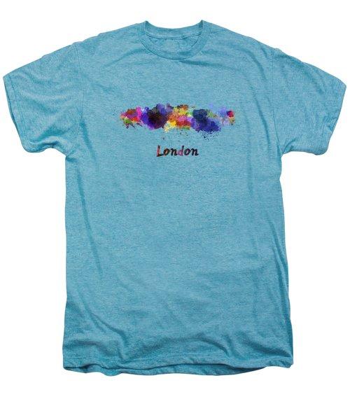 London Skyline In Watercolor Men's Premium T-Shirt by Pablo Romero