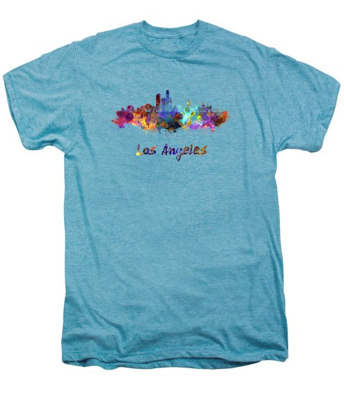Los Angeles Skyline In Watercolor Men's Premium T-Shirt by Pablo Romero