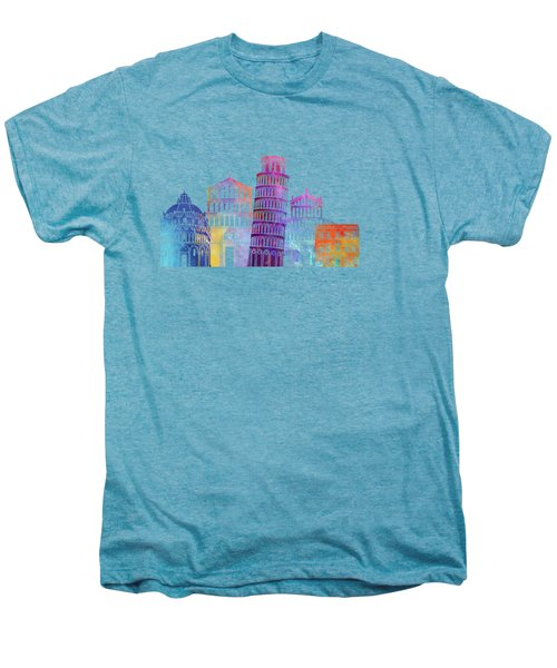 Barcelona Landmarks Watercolor Poster Men's Premium T-Shirt