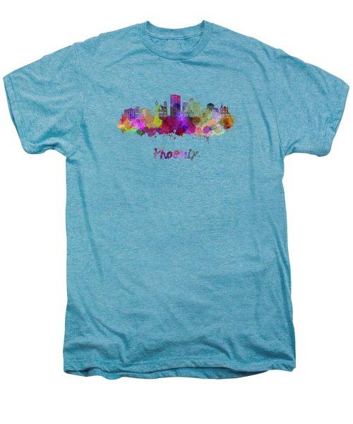 Phoenix Skyline In Watercolor Men's Premium T-Shirt by Pablo Romero