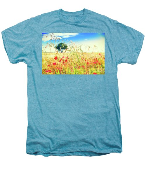 Men's Premium T-Shirt featuring the photograph Poppies With Tree In The Distance by Silvia Ganora