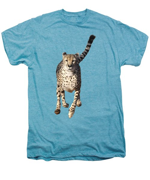 Running Cheetah, Isolated On White Background Men's Premium T-Shirt
