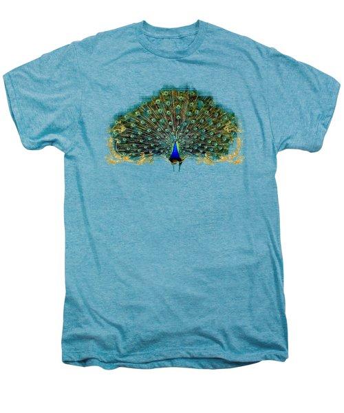 Scroll Swirl Art Deco Nouveau Peacock W Tail Feathers Spread Men's Premium T-Shirt by Audrey Jeanne Roberts