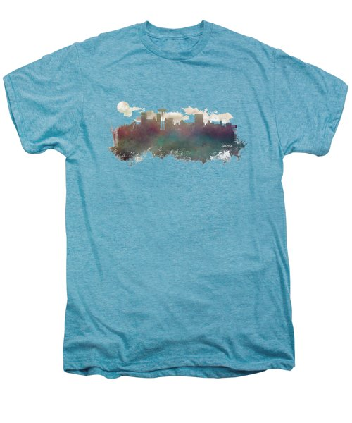 Seattle Washington Skyline Men's Premium T-Shirt by Justyna JBJart
