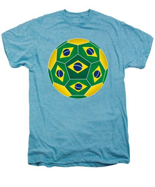 Soccer Ball With Brazilian Flag Men's Premium T-Shirt