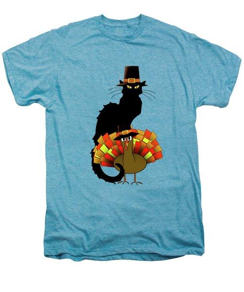 Thanksgiving Le Chat Noir With Turkey Pilgrim Men's Premium T-Shirt by Gravityx9   Designs