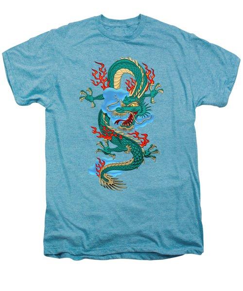 The Great Dragon Spirits - Turquoise Dragon On Rice Paper Men's Premium T-Shirt by Serge Averbukh