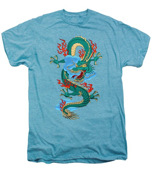 The Great Dragon Spirits - Turquoise Dragon On Rice Paper Men's Premium T-Shirt