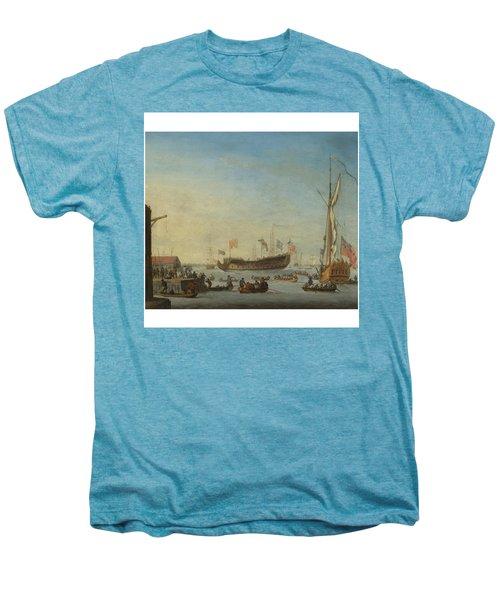 The Launch Of A Man Of War Men's Premium T-Shirt by Robert Woodcock