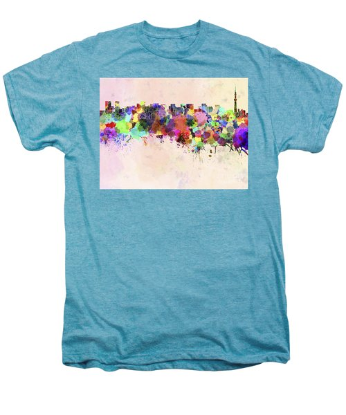 Tokyo Skyline In Watercolor Background Men's Premium T-Shirt by Pablo Romero