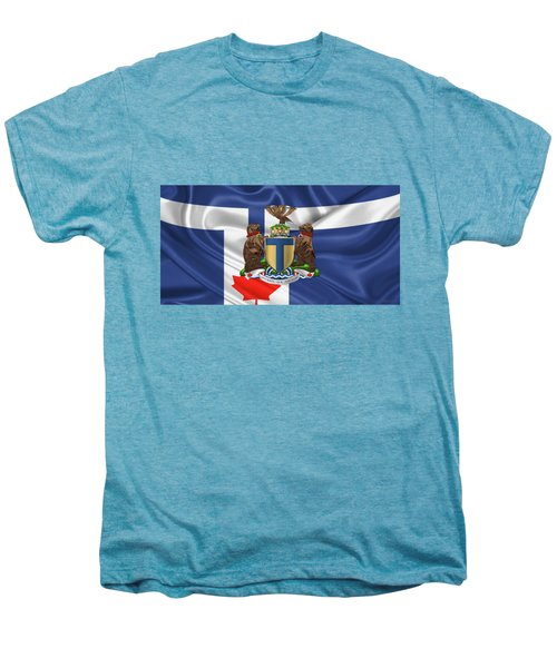 Toronto - Coat Of Arms Over City Of Toronto Flag  Men's Premium T-Shirt by Serge Averbukh