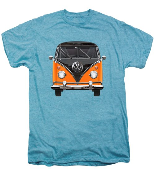 Volkswagen Type 2 - Black And Orange Volkswagen T 1 Samba Bus Over Blue Men's Premium T-Shirt by Serge Averbukh