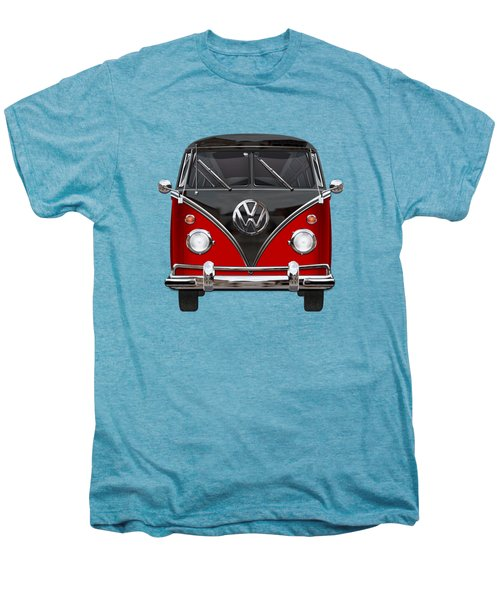 Volkswagen Type 2 - Red And Black Volkswagen T 1 Samba Bus On White  Men's Premium T-Shirt by Serge Averbukh