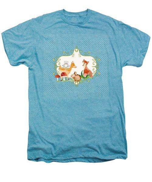 Woodland Fairytale - Animals Deer Owl Fox Bunny N Mushrooms Men's Premium T-Shirt by Audrey Jeanne Roberts