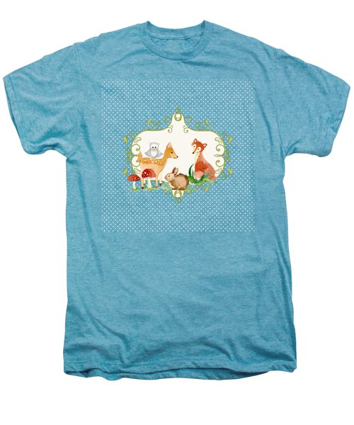 Woodland Fairytale - Animals Deer Owl Fox Bunny N Mushrooms Men's Premium T-Shirt