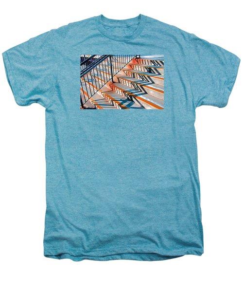 Zig Zag Shadows On Train Station Steps Men's Premium T-Shirt
