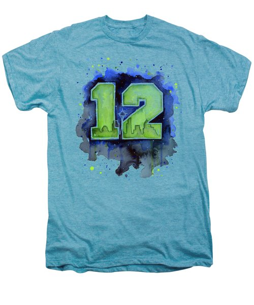 12th Man Seahawks Art Seattle Go Hawks Men's Premium T-Shirt by Olga Shvartsur