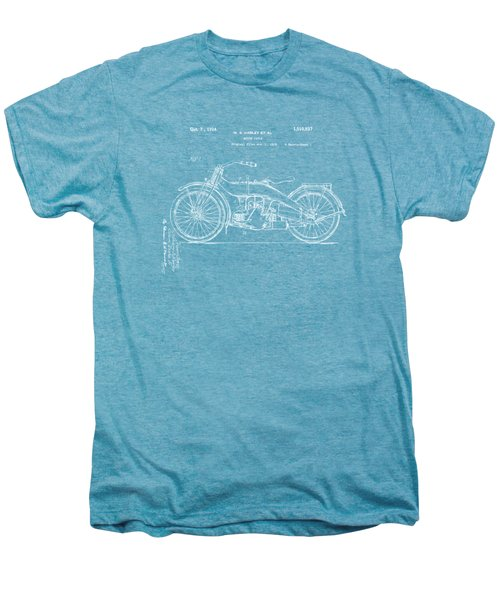 1924 Harley Motorcycle Patent Artwork Blueprint Men's Premium T-Shirt by Nikki Marie Smith